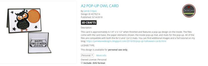 Owl o ween card example