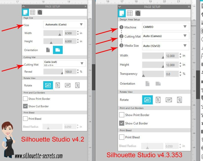 Page Setup Panel difference copy